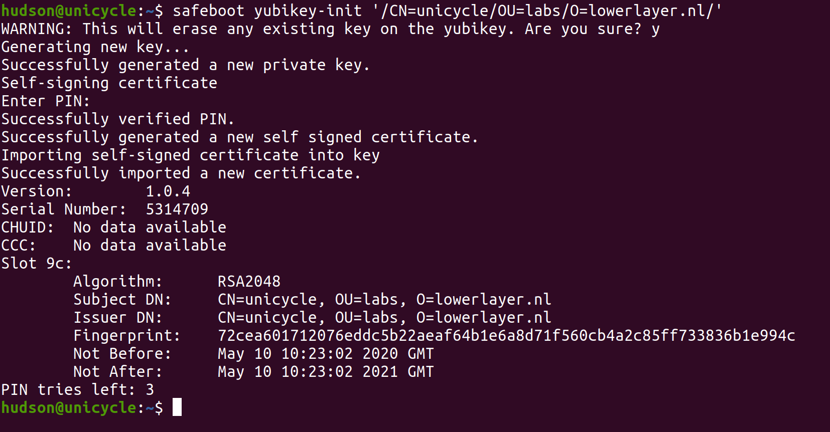 Output of yubikey-init command